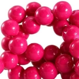 15 stuks Keramische Glaskralen 8mm  Raspberry rose