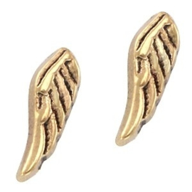2 x Floating Charms Wings Goud 11×3 mm