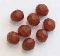 10 Stuks glaskraal facet mat bruin 8 mm