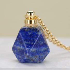 Gedenk hanger mini urn van half edelsteen Lapis Lazuli met RVS ketting