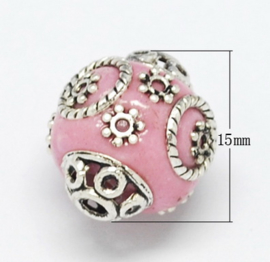 Schitterende handgemaakte Kashmiri kraal 15x16 mm ingelegd met metaal en strass Gat: 2mm pink