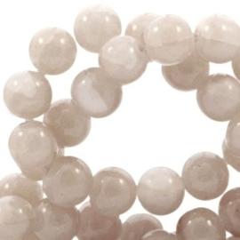 30 x Crackled opal glaskralen 6 mm Greige