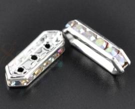 Per stuk verzilverde kristal spacers kristal 18mm x 7 x 4mm 3 gaten AB