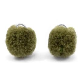 2 x Pompom bedel met oog zilver 15mm Olive green