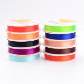 10 rollen assortiment elastiek mix kleuren 0,6 mm 10 meter per rol