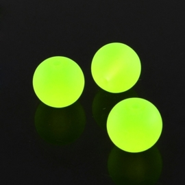 10 stuks mat frosted glaskralen 10mm gat: 1,5mm Green Yellow