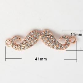 Schitterende moustache snor tussenzetsel met strass 41 x 11 x 3mm Gat: 2mm rose gold