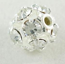Verzilverde kristal ballen 8mm blank