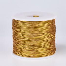 3 meter gekleurd elastisch draad van rubber voorzien van een laagje stof 1mm goud