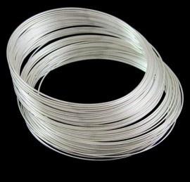 Memory Wire voor armbanden 60 mm x 0,6mm verzilverd 40 wendingen