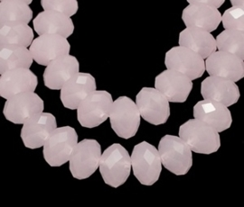 Streng met c.a. 72 stuks electroplated briolette kristal kraal 8 x 6mm gat 1mm imitatie Opal Roze