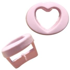 Per stuk Chill metalen schuiver hart pastel roze open 10mm