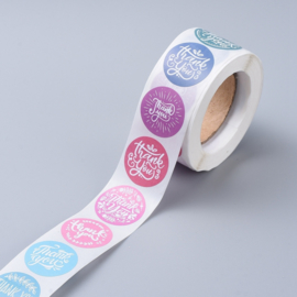1 rol 500 stickers Wensetiket zegel rond 25mm Thank you kleur mix