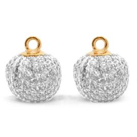2 x  Pompom bedels met oog glitter 12mm Silver-gold