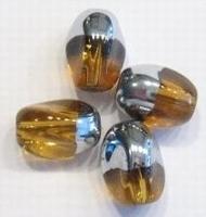 10 x Glaskraal ovaal transparant bruin met zilverkleur 13 mm