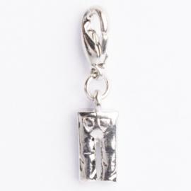 Be Charmed broek bedel met karabijnsluiting zilver met een rhodium laag (nikkelvrij)