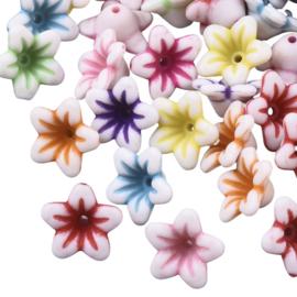 10 x Vrolijke gemixte acryl kralen bloemkelk