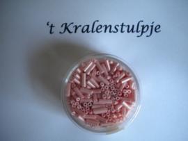 Pracht - glasstiften buisjes met zilverinslag 6mm 17 gram zuurstok roze