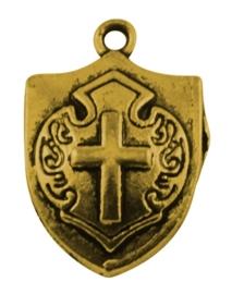10 x Tibetaans zilveren bedel goudkleur van een schild van een ridder 21 x 15mm x 5mm gat: 2mm