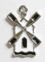 Per stuk Metalen hanger molen met zwart/witte epoxy 28 mm