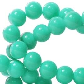 15 stuks Keramische Glaskralen 8mm  Emerald groen