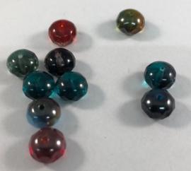 10x glazen briolette mix  - 8 x 6 mm - gat:1mm