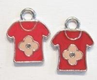 3x Metalen bedel 't-shirt rood met ruimte voor 1 mm simil 20 mm