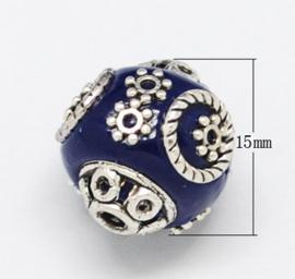 Schitterende handgemaakte Kashmiri kraal 15x16 mm ingelegd met metaal en strass Gat: 2mm midnight blue