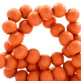 40 x Houten kralen rond 6 mm Fire orange
