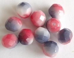 10 Stuks Meerkleurige facetkraal in d.roze/wit/grijs 8 mm