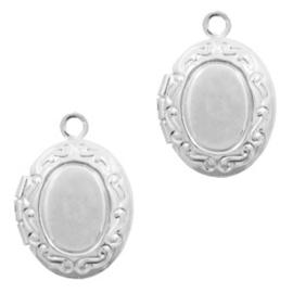 1 x Basic Quality metalen bedels medaillon ovaal Antiek zilver 14x10mm
