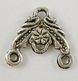 6 x hang/verdeler 2/1 zware kwaliteit, leuk voor rozenkrans Tibetaans zilver 14 x 14 x 2mm Gat: 2mm