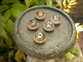 5 stuks prachtige gemstone donuts beige bruin 11x17 mm