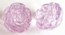 Per stuk Luxe kunststof kraal roos Transparant Lila 25 mm Gat: 3 mm
