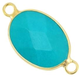 Half edelsteen tussenstukken ovaal Turquoise blue - gold 13 x18mm