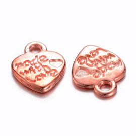 10 stuks Tibetaans zilveren made with love bedeltje 12,5mm x 10mm rose gold ♥