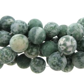 10 x  kraal edelsteen green spot rond groen 10mm mat gat 1mm