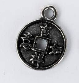 10 x Tibetaans zilveren chinese munt 12 mm