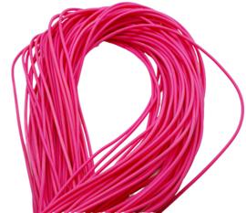 100 cm hol Rubber DQ koord 2mm per meter geknipt hot pink