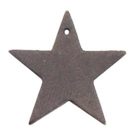 1 x DQ leer hangers ster Dark vintage brown c.a 5x5 mm Ø 2.5 mm