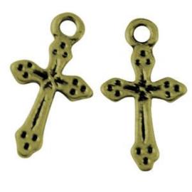 2 x Metalen Kruis 19x5 mm Antiek Brons