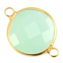 Crystal glas tussenstukken rond 16mm Crysolite green opal-Gold
