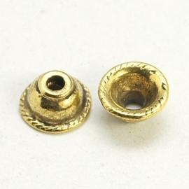 10 stuks kralenkapjes 8 x 4mm gat: 2mm goudkleur