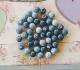 15 stuks Keramische Glaskralen 8mm blauw mix