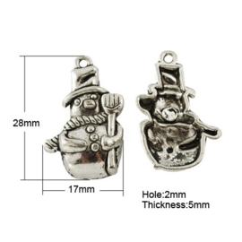 4 x Tibetaans zilveren sneeuwpop 28 x 17 x 5mm Gat: 2mm
