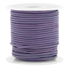 50 cm DQ leer rond 1 mm Royal purple - vintage finish