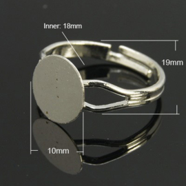 Verstelbare basis ring, diameter c.a. 18mm , maat van de ringdop: 10mm platinum