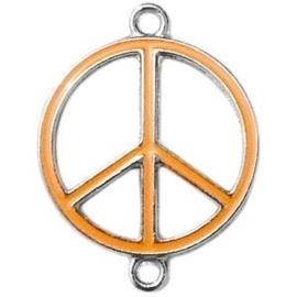 Bedel zilver 2 ogen peace Coral orange ca. 29 x 22 mm