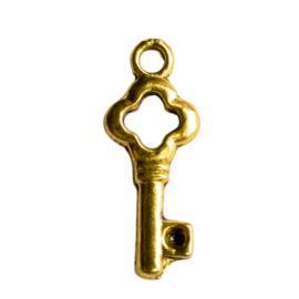 10 stuks sleutel bedeltjes goudkleur afm. 22 x 9mm oogje: 2mm