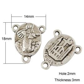 4 x  hang/verdeler 2/1 zware kwaliteit, leuk voor rozenkrans 18 x 14 x 3mm gat: 2mm
